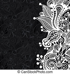 patrón floral, blanco, negro