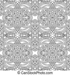 patrón floral, blanco, negro, seamless