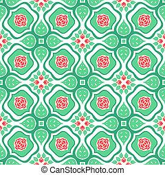 patrón floral, con, estilizado, rosas rojas, y, hojas