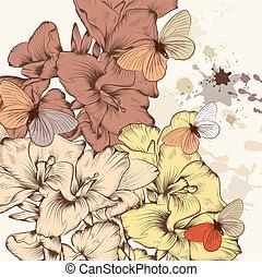 patrón floral, con, flores, y, tinta