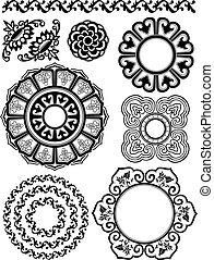 patrón floral, conjunto, espiral