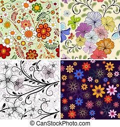 patrón floral, conjunto, seamless
