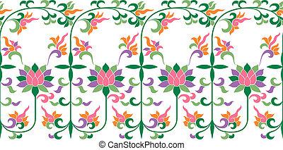 patrón floral, encaje, bordado
