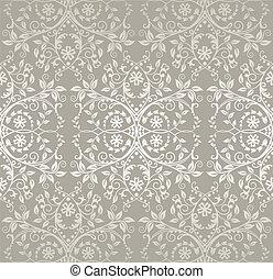 patrón floral, encaje, plata, seamless