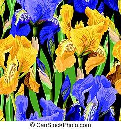 patrón floral, flores, iris