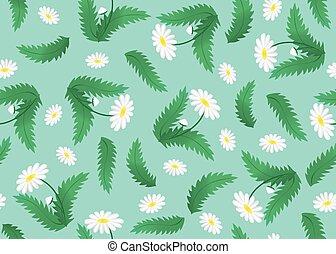 patrón floral, flores, vector, verde