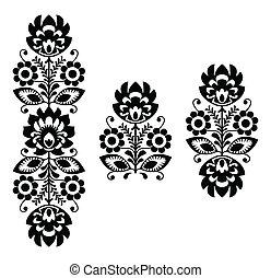 patrón floral, -, gente, bordado