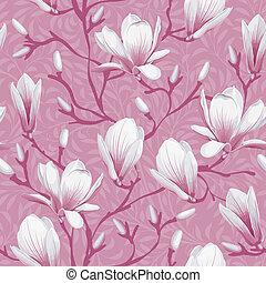 patrón floral, magnolia, -, seamless
