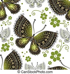 patrón floral, mantequilla, seamless