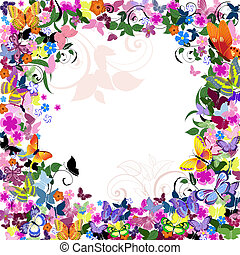 patrón floral, marco, mariposas