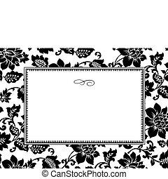 patrón floral, marco, vector, blanco