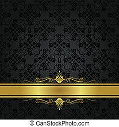 patrón floral, negro, cinta de oro