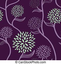 patrón floral, púrpura, verde