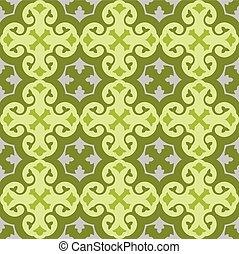 patrón floral, papel pintado, verde, seamless