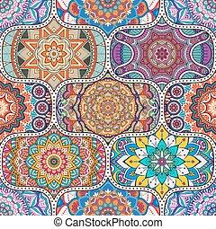 patrón floral, seamless, étnico
