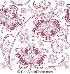 patrón floral, seamless, borgoña