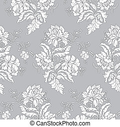 patrón floral, -, seamless, clásico