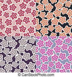 patrón floral, seamless, japonés