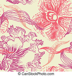 patrón floral, seamless, orquídea
