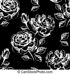 patrón floral, seamless, rosas