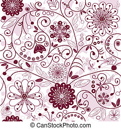 patrón floral, white-purple, seamless