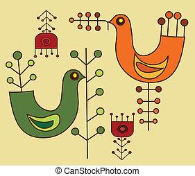 patrón, flores, -, aves