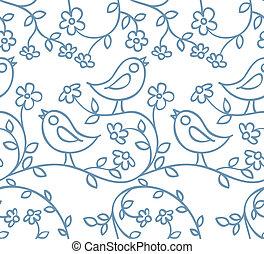 patrón, flores, aves