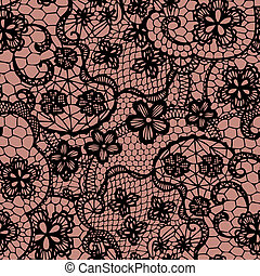 patrón, flores, encaje, seamless