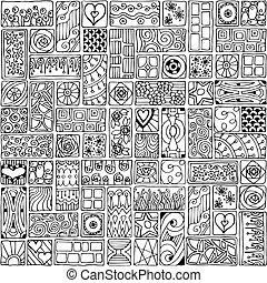 patrón, flores, hearts., seamless, garabato