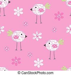 patrón, flores,  seamless, Aves