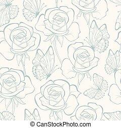 patrón, flores,  seamless, rosas
