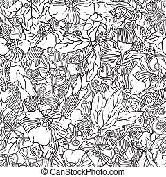 patrón, flowers., seamless, garabato