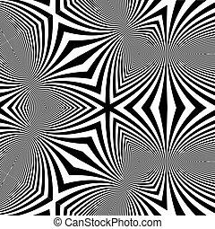 patrón, fondo., óptico, negro, illusion., blanco
