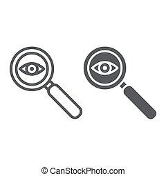 patrón, fondo., vector, gráficos, lente, icono, línea, blanco, glyph, lupa, observación, lineal, vigilancia, ojo, señal