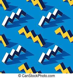 patrón, forma, o, textura, azul, torus, estilo, zigzag, ...