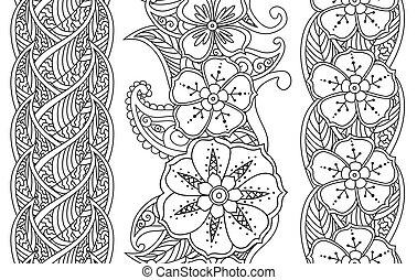 patrón, fronteras, floral, aislado, blanco, vertical, conjunto, seamless
