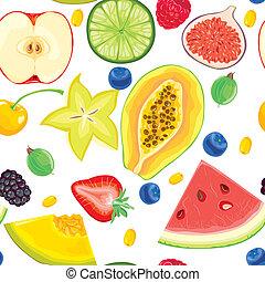 patrón, fruta, seamless, bayas