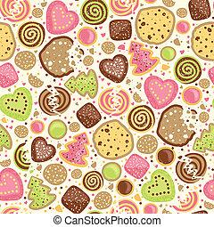 patrón, galletas, colorido, seamless, plano de fondo