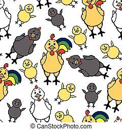 patrón, gallina, gallo, seamless, polluelo