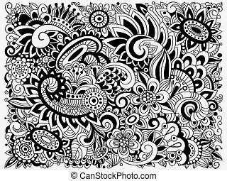 patrón, garabato, floral, vector, monocromo