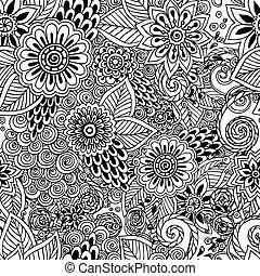 patrón, garabato, negro, seamless, plano de fondo, floral, vector., blanco