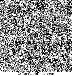 patrón, garabato, retro, negro, seamless, floral, vector., blanco