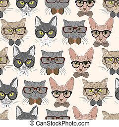 patrón, gatos, hipster, seamless, plano de fondo