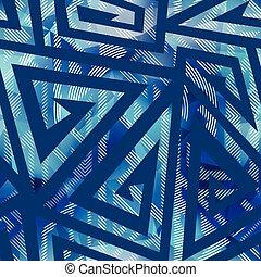 patrón, geométrico, acuarela