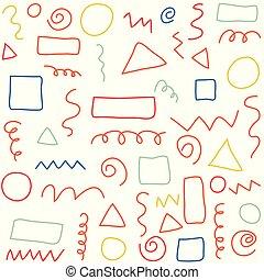 patrón, geométrico, dibujado, textura, mano