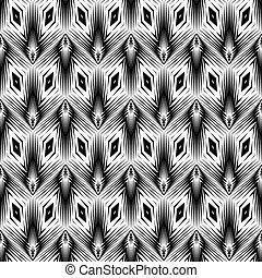 patrón geométrico, monocromo, diseño, seamless