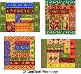 patrón, geométrico, primitivo, africano, ornamental