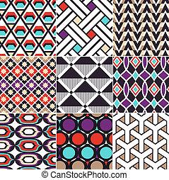 patrón, geométrico, seamless, retro