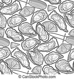 patrón, gráfico, vector, ostras