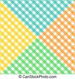 patrón, guinga, diagonal, seamless, cuatro, colores